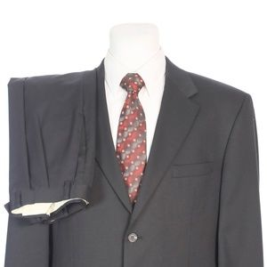 Chaps Two Button Solid Black Pure Wool Suit